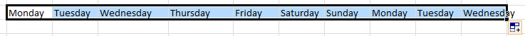 Excel data after using fill handle
