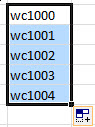 Filling a text and number pattern in Excel