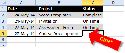 Using Ctrl+quote to duplicate the cell above
