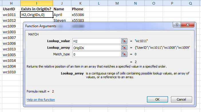Inserting the MATCH function