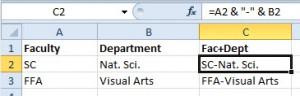Concatenate values in Excel 2010