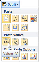 Paste as values in Excel
