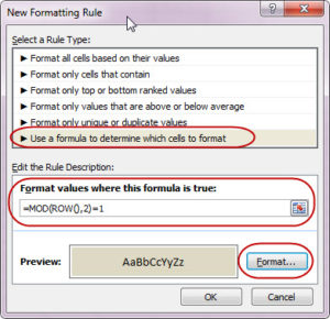 New Formatting Rule dialogue box