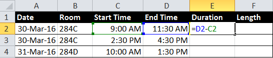 Excel data showing formula that subtracts a start time from an end time