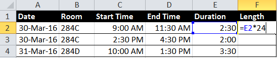Excel spreadsheet showing the formula that multiplies a time duration by 24 to convert it to a decimal number
