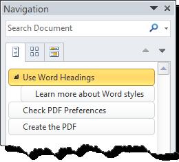 Navigation pane in Word 2010