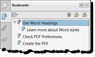 Bookmarks panel in Adobe Acrobat