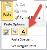 Keep Text Only paste option