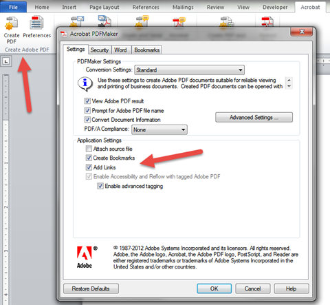 Adobe Acrobat toolbar and Preferences dialogue box as seen in Microsoft Word