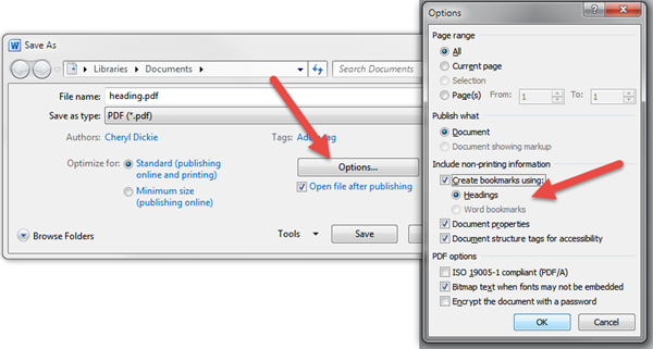 Save As dialogue box in Word showing the PDF options dialogue